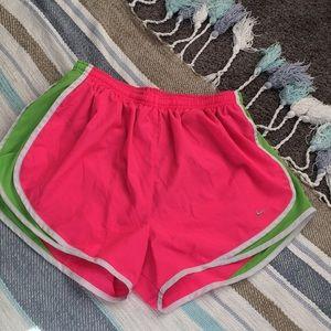 Nike Dri-Fit Ladies Shorts Size Large Pink/Green